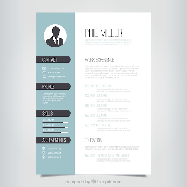 Graphic Designer Resume Template Vector Free Download