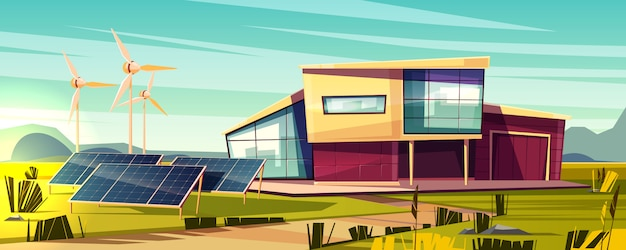 Free Vector Energy Independent Efficient House Cartoon Concept Modern Cottage With Solar Panel