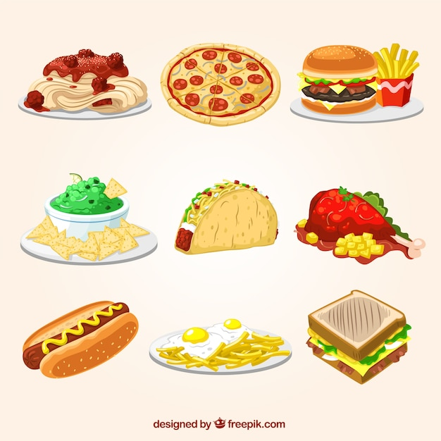 Fast food illustrations also vectors photos and psd files free download rh freepik