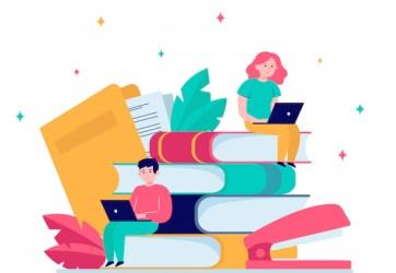 Free Vector Focused people studying in online school