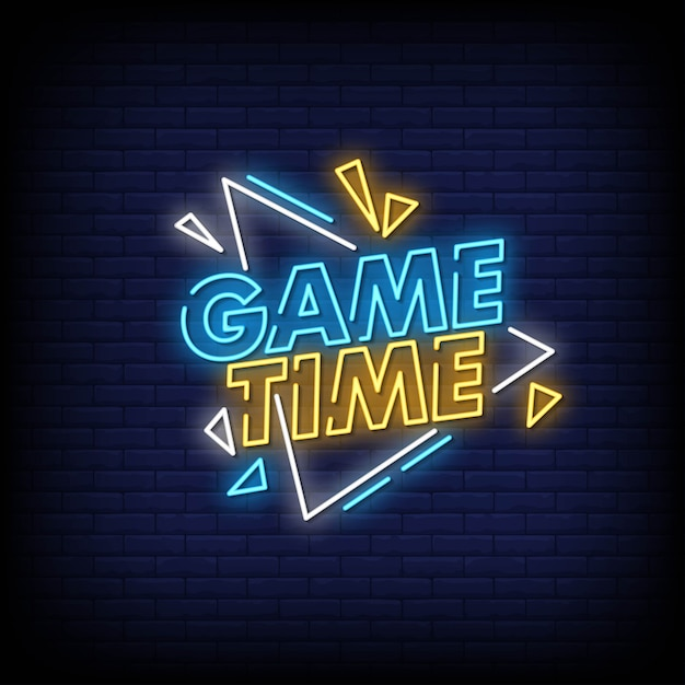 Premium Vector | Game time neon signs style text