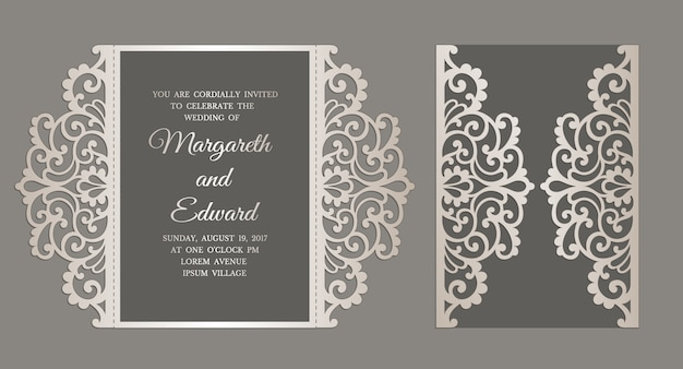 You should never assume you're invited to someone else's wedding. Premium Vector Gate Fold Laser Cut Wedding Invitation Template For Laser Cutting