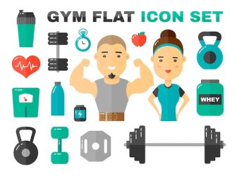Premium Vector Gym flat icons set male and female sport fitness coache character