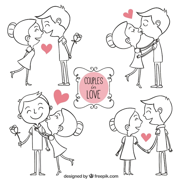 Download Free Hand Drawn Couples In Love Vector - Best SVG Cutting ...