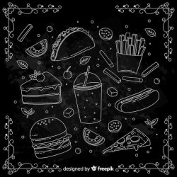 Free Vector Hand drawn doodle food background