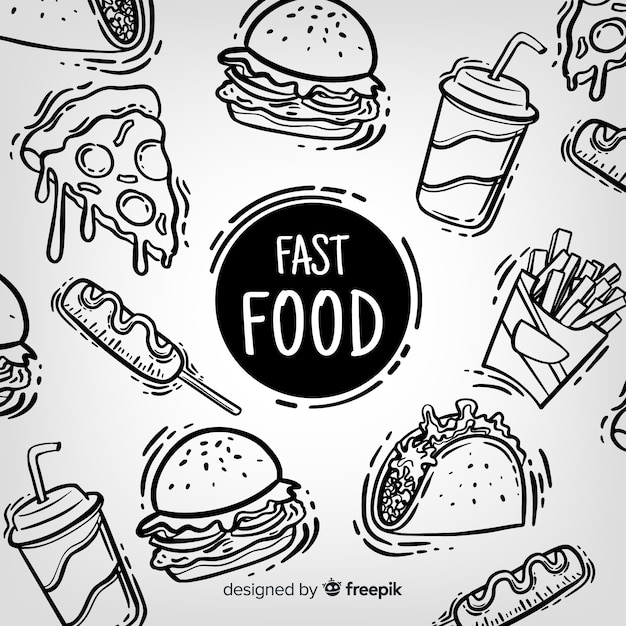 hand drawn food vectors