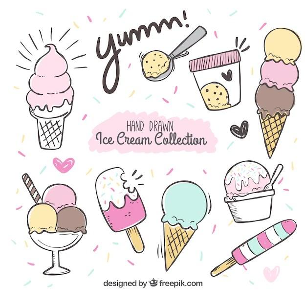 Hand drawn ice cream set also icecream vectors photos and psd files free download rh freepik