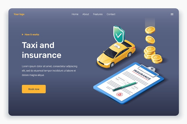 Insurance is one of the most crucial things to have. Premium Vector Isometric Yellow Taxi Car Insurance And Golden Coins Landing Page Template