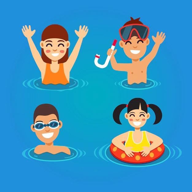 kids swimming vectors photos