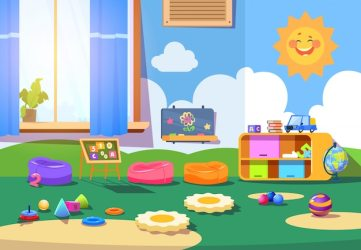Premium Vector Kindergarten room empty playschool room with toys and furniture kids playroom cartoon interior