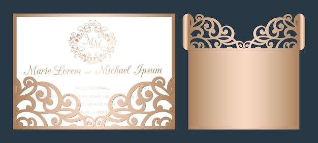 The ultimate guide with so many beautiful designs available these days, one great way to cut w. Premium Vector Laser Cut Wedding Invitation Template Wedding Openwork Pocket Envelope With Abstract Cutting Ornament