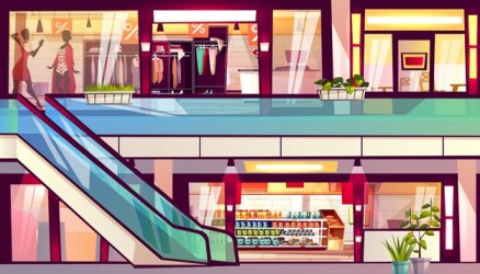 mall vector shops illustration supermarket escalator grocery cartoon staircase shopping background inside centre clipart boutique cafes cafe building retail interior