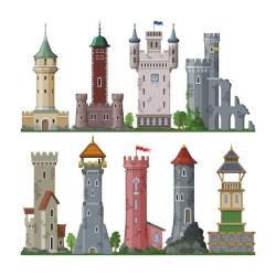 Premium Vector Medieval tower cartoon castle fairytale of fantasy palace building in kingdom fairyland illustration