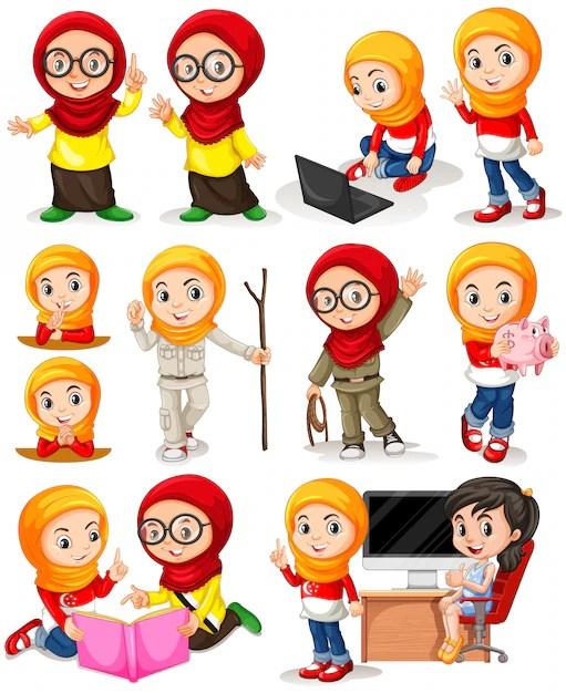 Wayang Vector Freepik : wayang, vector, freepik, Vektor, Kartun, Pengantin, Muslimah, Hitam, Putih, Oriflame