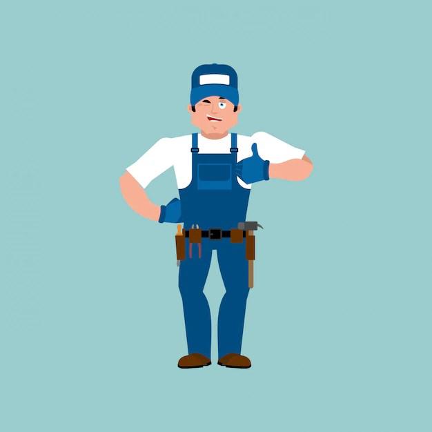 Premium Vector Plumber Thumbs Up Fitter Winks Emoji Service Worker Serviceman Cheerful Illustration