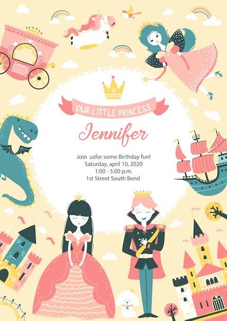 free vector princess birthday invitation