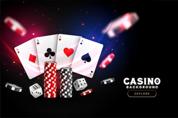 Premium Vector | Casino poker . falling poker cards and chips game concept.  casino lucky background isolated.