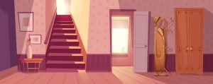 vector interior illustration retro background cartoon freepik empty corridor wall anime living bedroom vectors modern hallway casa shelves frames fondo