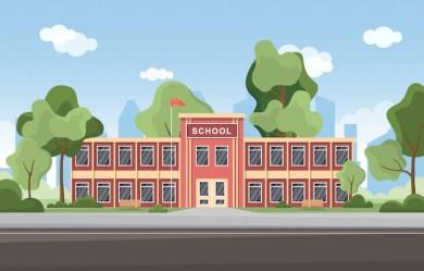 Premium Vector School education building street outdoor landscape cartoon illustration