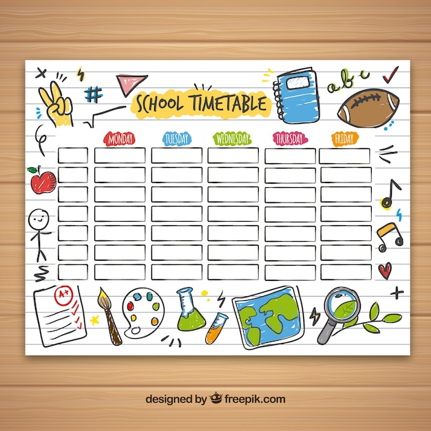 School timetable template with hand drawn objects also vectors photos and psd files free download rh freepik