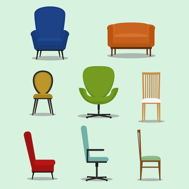 chair design icons rattan vectors photos and psd files free download set of different shapes styles chairs furniture vector illustration