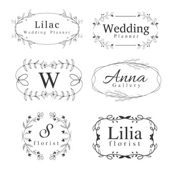 Set Of Flower Logos Template With Handdrawn Swirl Border Frame And Greenery For Wedding