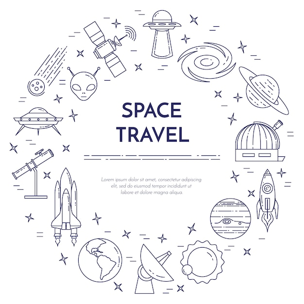 rocket ship diagram arduino lcd display wiring outline vectors photos and psd files free download space travel line banner set of elements planets ships ufo