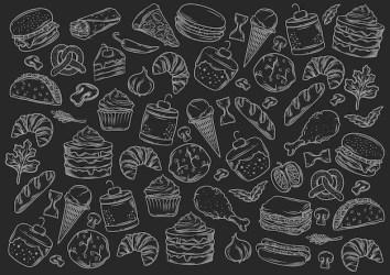 Premium Vector Stock vector set of fast food blackboard style