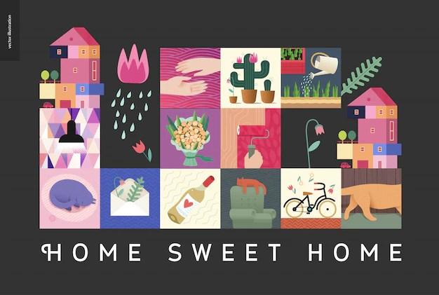 Home sweet home cute cartoons   Free Vector