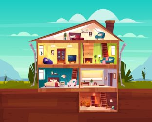 Free Vector Two storey cottage house cross section interior cartoon vector with spacious hall