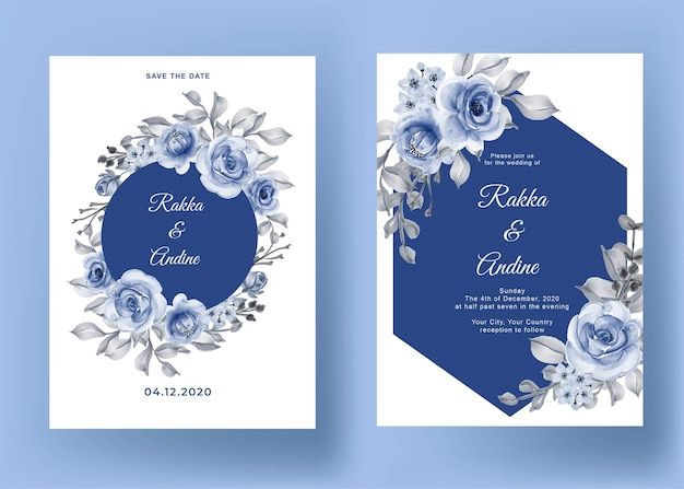 free vector blank floral invite