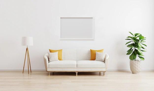 trois affiches vierges dans un salon