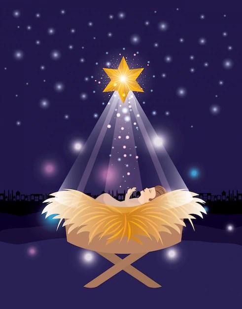 Foto di julio césar garcía da pixabay. Buon Natale Con Gesu Bambino Vettore Premium