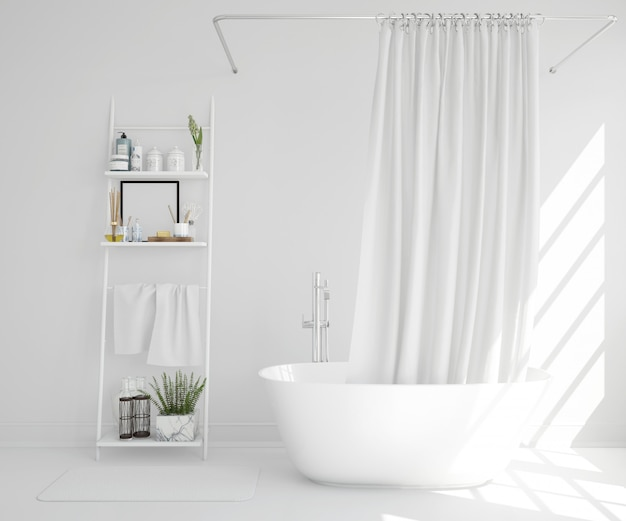 baignoire blanche avec rideau et