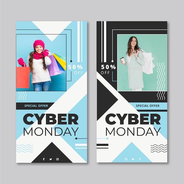 Bannières Abstraite Cyber Lundi Télécharger Des Vecteurs