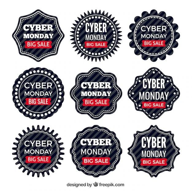Cyber Lundi étiquettes Discount Vecteur Gratuite