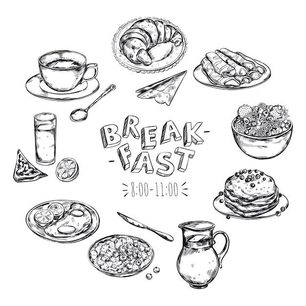 images petit dejeuner dessin vecteurs