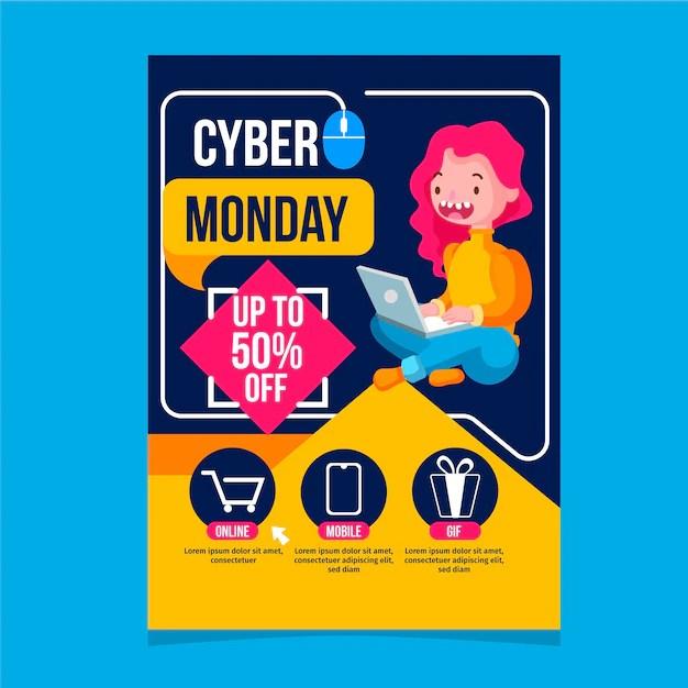 Modèle De Flyer Design Plat Cyber Lundi Vecteur Gratuite