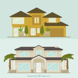 Set de fachadas de mansiones en diseño plano Vector Gratis