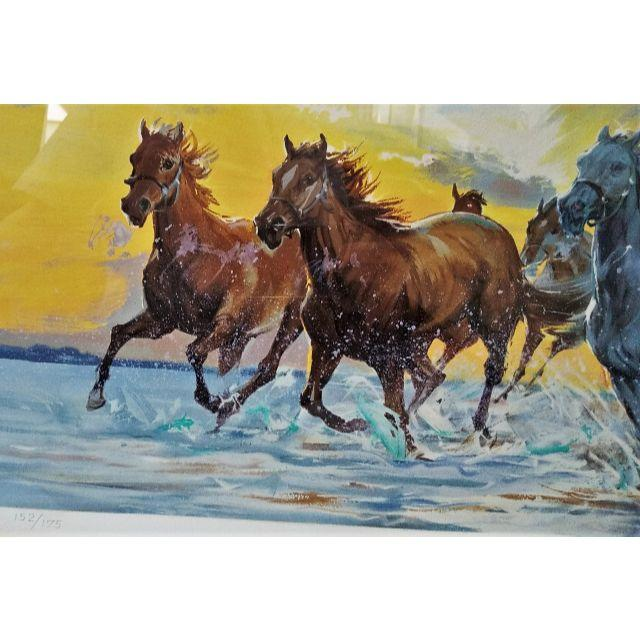 【真作保証】日本畫家 中畑艸人 水に駆ける 馬(夏) リトグラフ 152/175の通販 by welldone ラクマ