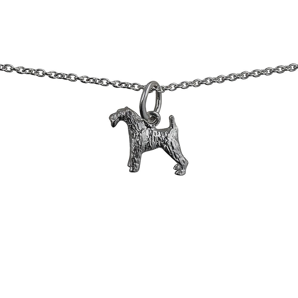 Silver 19x12mm Airedale Terrier Pendant with a rolo Chain