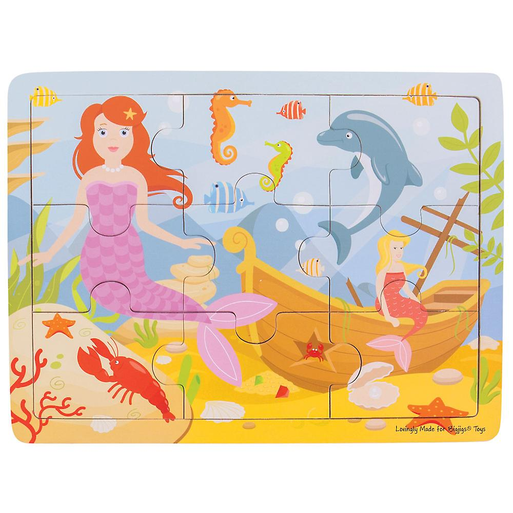 Tappeto Puzzle Con Recinzione Bigjigs Toys Chunky Wooden Educational Tray Puzzle Mermaid