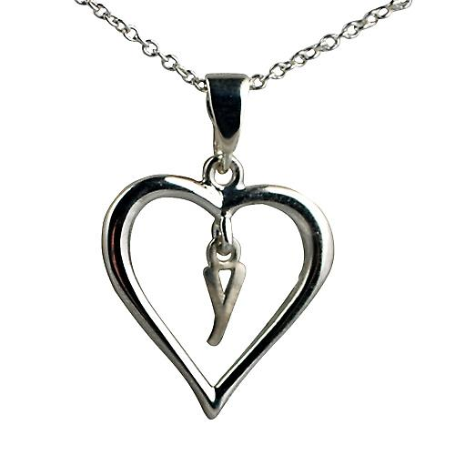 Silver 18x18mm initial Y in a heart Pendant with a rolo