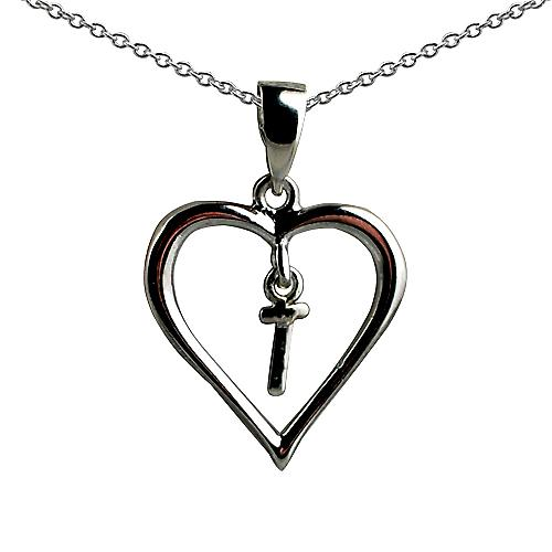 Silver 18x18mm initial T in a heart Pendant with a rolo