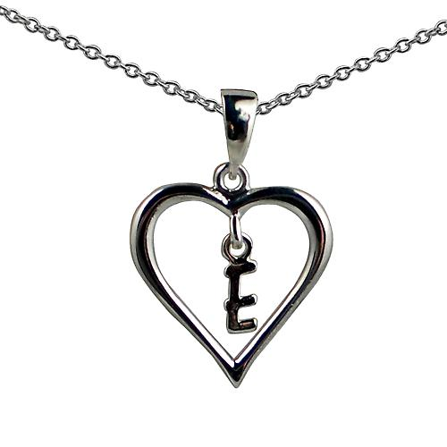 Silver 18x18mm initial E in a heart Pendant with a rolo
