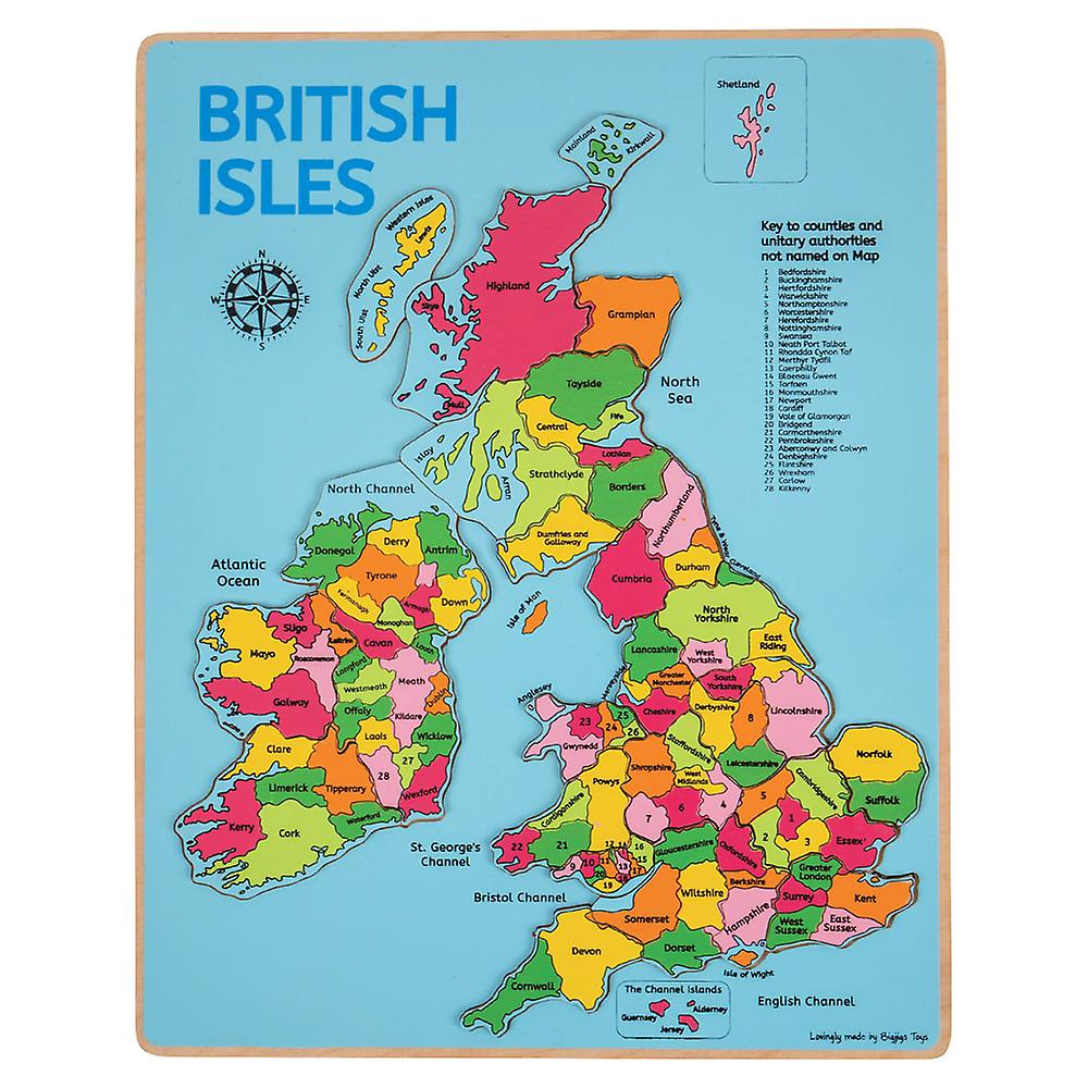 Tappeto Puzzle Con Recinzione Bigjigs Toys Wooden Chunky British Isles Educational Geography Jigsaw Puzzle