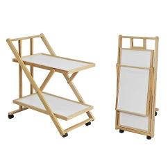 Kitchen Serving Cart Refurbished Table And Chairs Sobuy Foldable Wood 2 Shelves Trolley On Wheels Fkw52 Wn