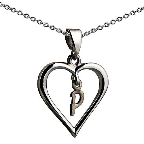 Silver 18x18mm initial P in a heart Pendant with a rolo
