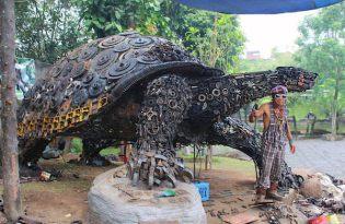 [裝置藝術]巨大金屬烏龜裝置雕塑