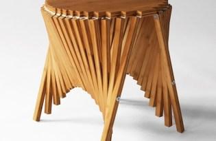 [家具設計]桌巾意象木桌